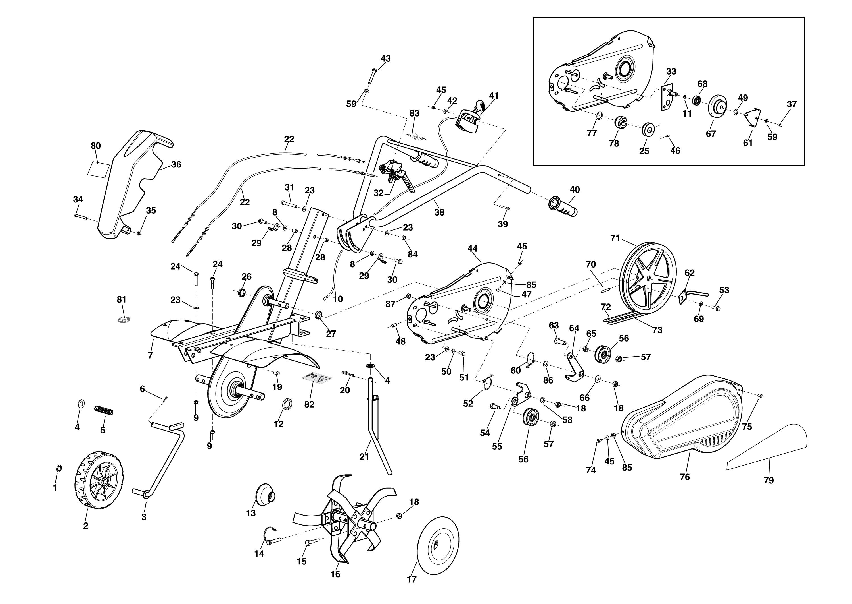 MH 150RK (K700 H) Motobineuse OLEOMAC Dessins pièces -  Vue éclatée complète