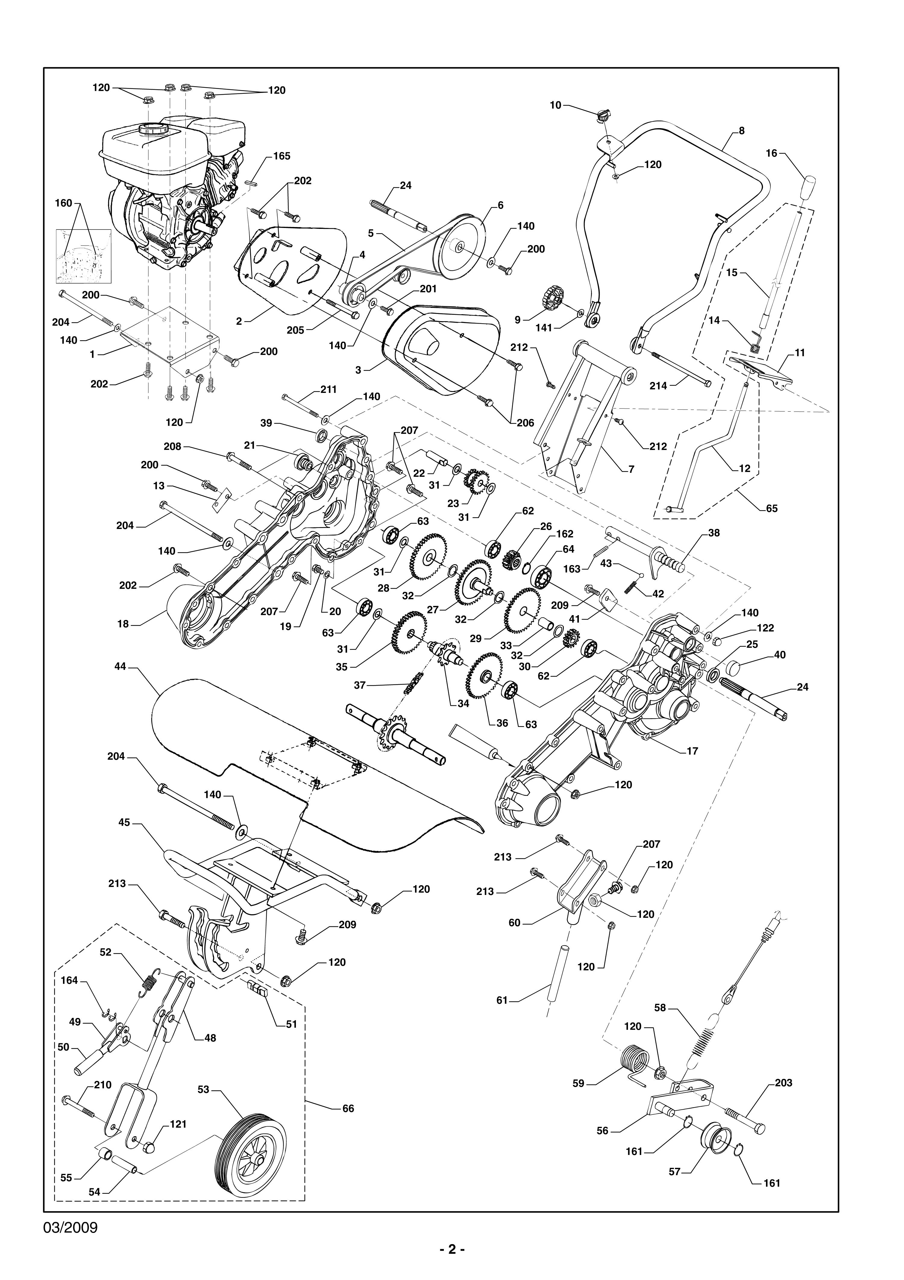 MHA 54 version 2009 Motobineuse Oleomac vue éclatée  Dessins pièces -  Engrenage