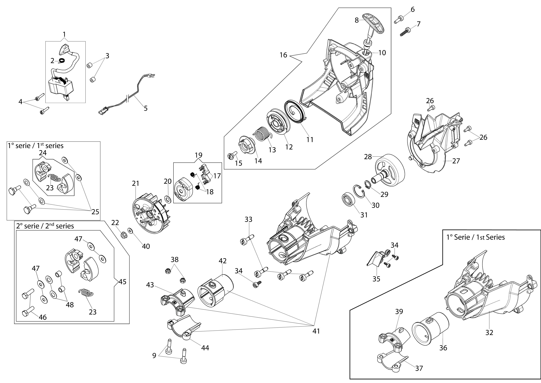 BC 240 T (EURO 2) Débroussailleuse oleomac Dessins pièces vue éclatée Démarrage et embrayage